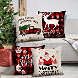 GENNISSY 4 Pack Merry Christmas Pillowcases-18 X 18 Inch Red and Black Slipcovers Holiday Decoration Santa Claus Pillow Cover