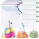 SPLF 12 Pcs Heavy Duty Reusable Mesh Produce Bags, Barcode Scanable See Through Food Safe Mesh Bags with Drawstring for Fruit