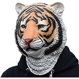 タイガー 虎ヘッド マスク アニマルマスク パーティーマスク 動物マスク パーティーマスク 衣装 雑貨 コスプレグッズ 被り物 忘年会 パーティー グッズ 変装用マスク デラックスな ラテックス