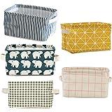 5 Pcs Foldable Storage Bin Basket,Foldable Container Organizer Fabric Storage Receive Baskets with Handle Cotton Linen Blend