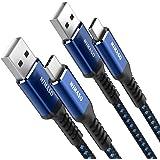 【2本セット 2m+2m】NIMASO USB Type C ケーブル 【QC3.0対応 急速充電】 タイプc 充電ケーブル iPad Pro、Sony、Galaxy、Huawei その他Android各種、type c機器と互換性があり(ブルー)