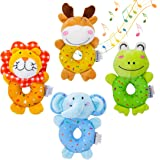 TUMAMA Baby Toys for 3, 6, 9, 12 Months Newborn, Soft Cute Stuffed Animal Rattles for Baby and Infant Developmental Hand Grip