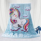 BUZIO Kids Fleece Weighted Blanket 3.2 kg, Unicorn Blanket for Kids with 4 Color Options, Ultra Soft and Cozy Heavy Blanket,