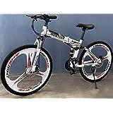 Deluxe Dual Suspension Foldable 21 Speed 3 Spoke Mountain Bike (White & Black)