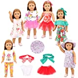 Barwa 7 Sets Clothes Outfits Fancy Summer Dress Clothing for 18 Inch American Girl Doll