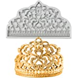 BUSOHA Crown Cake Fondant Molds - Sugarcraft Crown Baroque Style Silicone Mold for Cupcake Topper Chocolate Candy Pastry Jewe