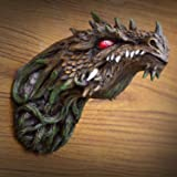 Ebros Gift Fantasy Green Dryad Tree Greenman Dragon Head Wall Decor Plaque With Red LED Illuminated Eyes Dungeons And Dragons