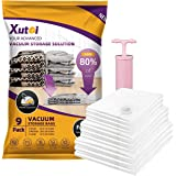 XUTAI Travel Vacuum Storage Bags for Clothes Comforters Blankets Mattress Pillows (3 S + 3 M +3 L) with Pump Space Saver Bag
