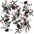 Artificial Christmas Pine Garland with Berries Pinecones Spruce Eucalyptus Leaves Cotton Balls Winter Greenery Garland for Ho