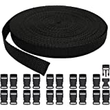 (15MM+20PCS) - RETON 15mm Wide 10 Yards Black Nylon Webbing Strap + 20 PCS Adjustable Buckles Plastic Side Release Buckles