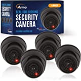 (4 Pack) Fake Security Camera CCTV Dome Camera with Realistic Look Recording Red LED Light Indoor and Outdoor Use, for Homes