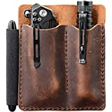 EDC Leather Pocket Organizer, Pocket Slip, Pocket Knife Pouch, EDC Carrier, with Pen Loop, Everyday Carry Organizers, Full Gr