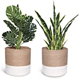 Smoofy 2 PCS Modern Woven Basket, Cotton Rope Plant Basket for 10 Inch Flower Pot Floor Indoor Planters, Storage Organizer Ru
