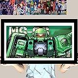 AooCare 機動戦士ガンダム ZAKU 画 周辺 グッズ 立体絵 飾り 絵飾り 壁飾り 手作り 3D 立体 プレゼント DIY インテリア オリジナル