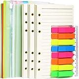 A6 Refill Paper, 3 Pack 45PCS A6 Loose Leaf Paper, 2 Pack 160PCS Neon Page Markers, 6PCS Binder Dividers, 2 PCS Binder Pocket