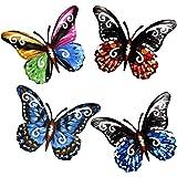 PUENUO 4Pcs Metal Butterfly Wall Art Hanging Décor for Patio Garden Backyard Outdoor and Indoor Set