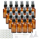Empty Spray Bottles,20 Pack Maredash 30Ml Amber Glass Bottle w/Black Trigger Sprayer & Labels, Refillable Container for Water