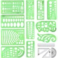 Geometric Drawings Templates Measuring Geometry Rulers 15 Pcs with 1 Pack File Bag for Design School Studying Office Building