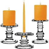 """CYS EXCEL Candle Holder Set Pillar Taper Candles Set, GCH203/07S3/MVG, Glass, Series 3, Three Different Heights (3.25"""" 4.5"""" 6"""