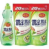Mama Lemon Anti-Bacterial Dishwashing Liquid, Green Tea, 750ml with Refill 600ml (Pack of 2)