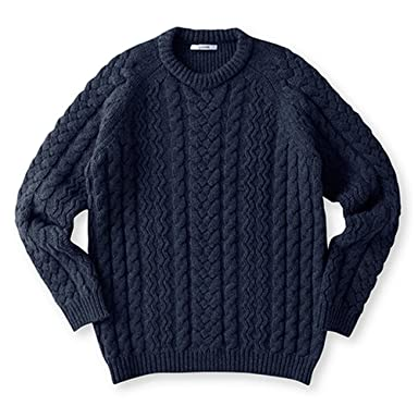 Sloane Wool Cable Crewneck Sweater: Navy