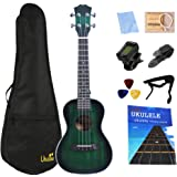 23 inch Concert Ukulele Rosefinch Mahogany Ukelele Hawaii Mini Guitar with Beginner Kit for Kids/Girls/Boys/Adults/Beginners