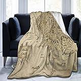 Blanket Middle Earth Map Throw Blanket Ultra Soft Velvet Blanket Lightweight Bed Blanket Quilt Durable Home Decor Fleece Blan