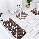 Carvapet 3 Pcs Bathroom Rug Set Extra Soft Shaggy Microfiber Bath Mat Water Absorbent Plush Fuzzy Bath Runner U-Shaped Contou
