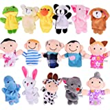 ThinkMax 16 Pack Soft Plush Finger Puppets Set - MANSA 10 Animals + 6 People Family Members Velvet Cute Toys for Children, St