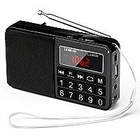 Gemean L-238SW ポータブル USB ラジオ ポケット 充電式 携帯 対応 ワイド FM AM (MW) 短波 by Gemean (真っ黒)