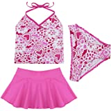 iiniim Big Girls' 3Pcs Hot Pink Halter Top Swimsuits Bathing Suits Tankini Set
