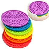 Enkore Coasters Novelty Set in 6 Rainbow Colors with Translucent Holder - Kids Favorite, Weather Proof Outdoor Tabletop Prote