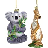 KA Soft Grey Goldtone Koala Kangaroo 5 inch Glass Decorative Hanging Ornament Set of 2