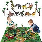TEMI Dinosaur Toy Figure W/ Activity Play Mat & Trees, Educational Realistic Dinosaur Playset To Create A Dino World Includin