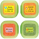 Baby Date Labels Removable Write-On Labels for Baby Bottle Food Storage Container Freezer Tray & Reusable Pouch Great for Day