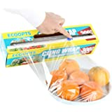 ECOOPTS Cling Wrap Plastic Food Wrap with Slide Cutter and BPA Free Plastic Wrap 12IN×1000FT