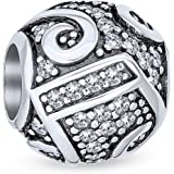 Pink Clear CZ Pave Music Melody Notes Musician Charm Bead For Women Teen 925 Sterling Silver Fits European Bracelet