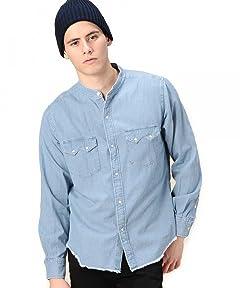 Beauty & Youth Denim Band Collar Western Shirt 1211-149-6622