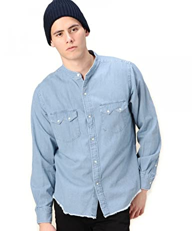 Denim Band Collar Western Shirt 1211-149-6622: Washed