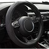 WHHW Black Microfiber Leather Steering Wheel Cover,Universal 15 inch Steering Wheel Covers for Car Truck SUV,Breathable, Anti