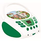 Lexibook Radio CD Player Animals for Kids, AUX, USB Port, Microphone Jack, Green/White, RCD108ANX