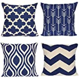 Throw Pillow Covers Home Decorative 18 X 18 Inch Cotton Linen Cushion Covers Set of 4 Navy Blue-geometrict Pattern