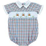 Carraige Boutique Baby Boy Blue Orange Creeper - Checkered Crabs