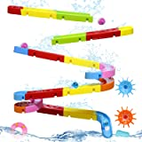 Fajiabao Bath Toys Slide Splash Water Ball Track Stick to Wall Bathtub for Toddlers DIY Waterfall Pipe and Tubes Tub Toys wit