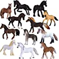 Liberty Imports Set of 12 Deluxe Horse Figurines for Kids | Realistic Toy Pony Figures Bulk Animal Variety Cake Toppers Gift