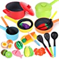 REMOKING Kids Kitchen Pretend Play Food,Cooking Accessories Playset,Pots and Pans,Cookware, Utensils, Vegetables,Learning 3 4