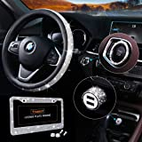 Bling Car Accessories Set, Bling Steering Wheel Cover for Women Universal Fit 15 Inch, Bling License Plate Frame for Women, B