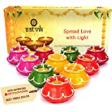 10 Pc Set of Diwali Gift/Diwali Decorations Matki Diya.Handmade Natural Earthen Oil Lamp/Welcome Traditional Diyas with Cotto