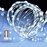 LED イルミネーションライトurlife LEDストリングスライト 100球 10m 8種光るパターン 電池式 水を防ぎ フェアリーライト タイム設定付 調光可能 リモコン付属 屋内・屋外兼用 新年 バレンタインデー 贈り物 (银線クールホワイト)