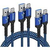 USB Type C ケーブル 【3本セット 0.3m/1m/2m】MSOVA USB A to USB C 充電ケーブル QC3.0 急速充電 USB 3.0高速データ転送 USB タイプ C ケーブル ナイロン編み 高耐久 断線防止 Huawei
